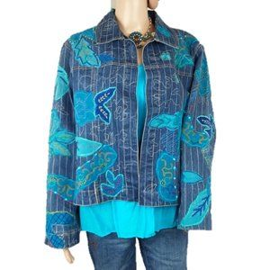 Chico's Denim Floral Open Front Jacket